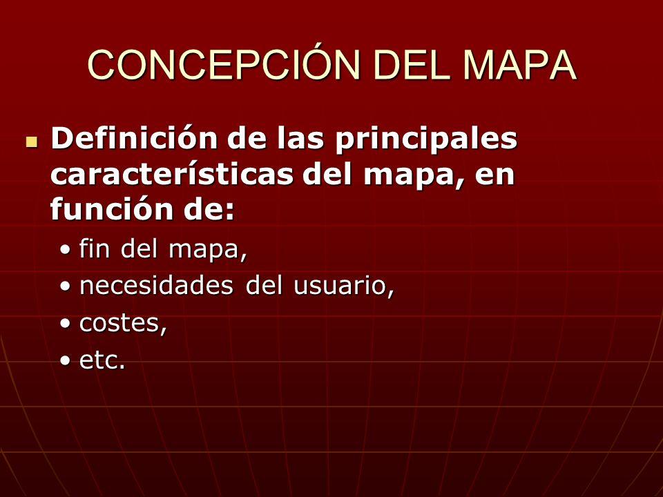CONCEPCIÓN DEL MAPA Definición de las principales características del mapa, en función de: Definición de las principales características del mapa, en