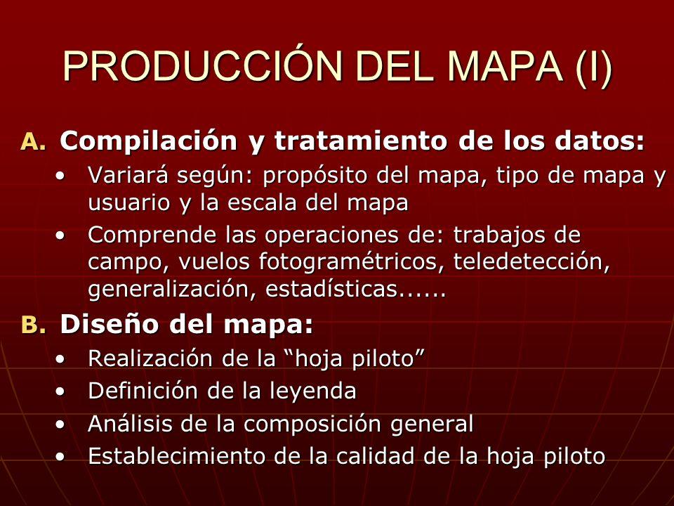 PRODUCCIÓN DEL MAPA (I) A. Compilación y tratamiento de los datos: Variará según: propósito del mapa, tipo de mapa y usuario y la escala del mapaVaria
