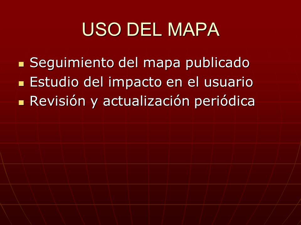 USO DEL MAPA Seguimiento del mapa publicado Seguimiento del mapa publicado Estudio del impacto en el usuario Estudio del impacto en el usuario Revisió