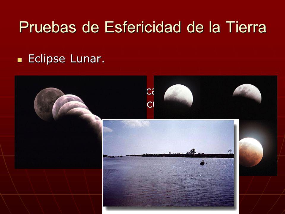 Pruebas de Esfericidad de la Tierra Eclipse Lunar. Eclipse Lunar. Un barco que se acerca a la costa lo primero que ve es la cumbre de las montañas. Un