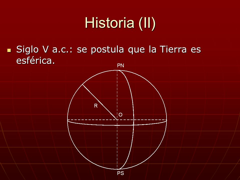 Historia (II) Siglo V a.c.: se postula que la Tierra es esférica. Siglo V a.c.: se postula que la Tierra es esférica.