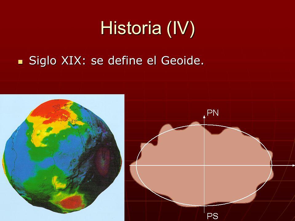 Historia (IV) Siglo XIX: se define el Geoide. Siglo XIX: se define el Geoide.