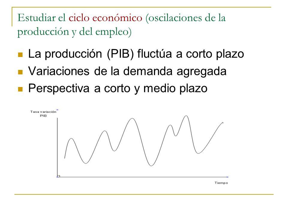 Estudiar el ciclo económico (oscilaciones de la producción y del empleo) La producción (PIB) fluctúa a corto plazo Variaciones de la demanda agregada