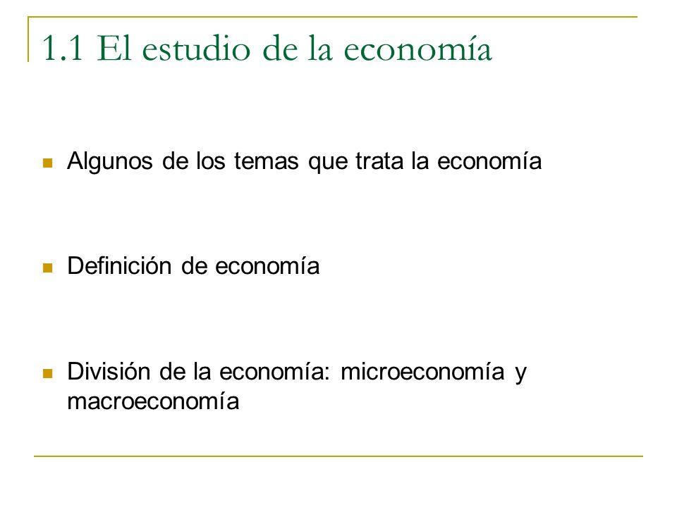 Definición de economía: eficiencia La idea de eficiencia implica la utilización adecuada de unos recursos productivos escasos De alguna forma significa producir con los menores costes de recursos y evitar el despilfarro en el usos de los recursos (De forma alternativa, maximizar la producción a partir de los recursos existentes)
