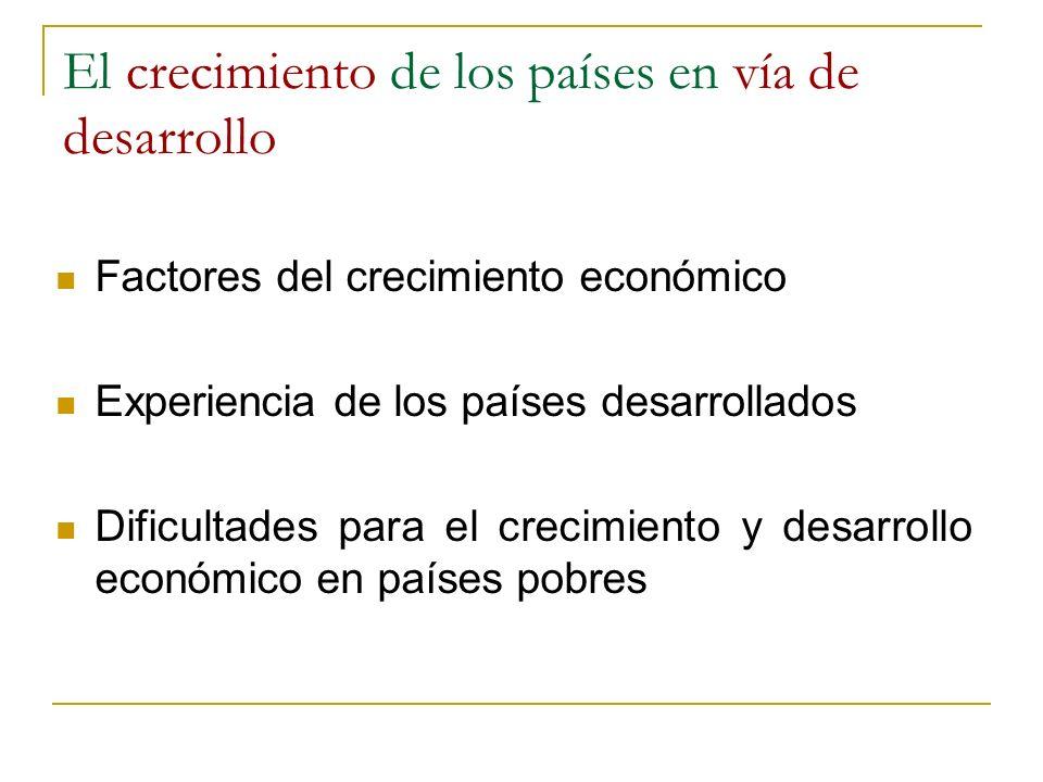 El crecimiento de los países en vía de desarrollo Factores del crecimiento económico Experiencia de los países desarrollados Dificultades para el crec