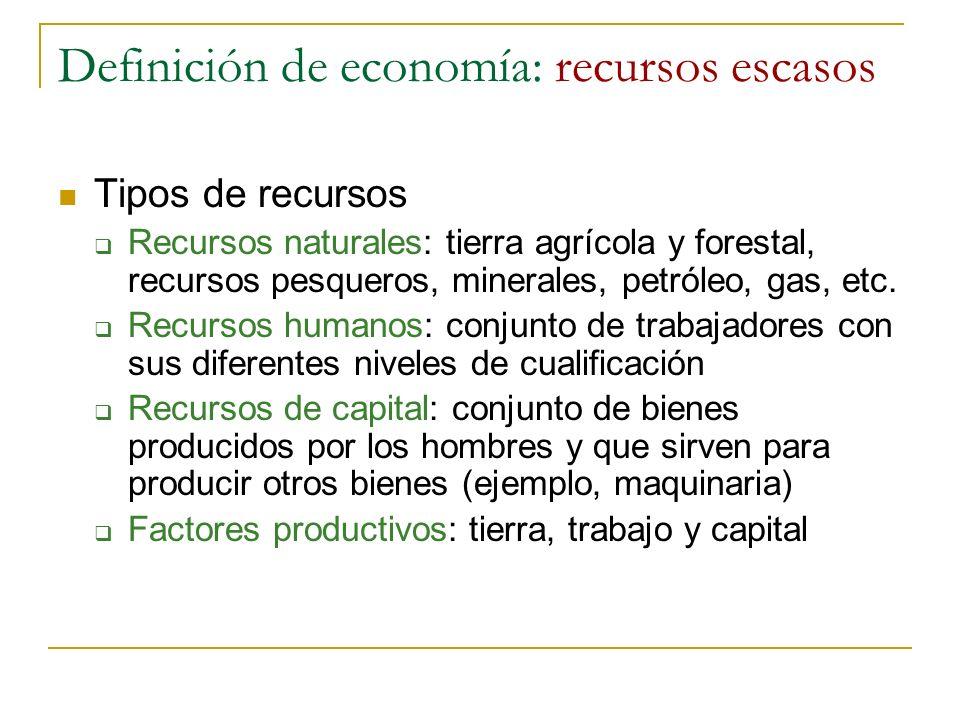 Definición de economía: recursos escasos Tipos de recursos Recursos naturales: tierra agrícola y forestal, recursos pesqueros, minerales, petróleo, ga