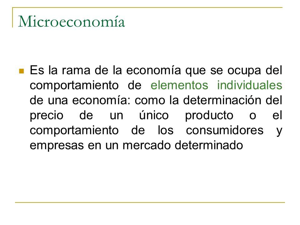 Microeconomía Es la rama de la economía que se ocupa del comportamiento de elementos individuales de una economía: como la determinación del precio de