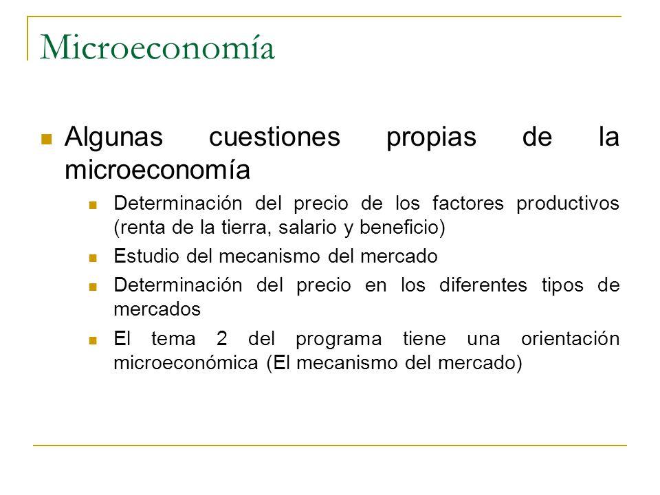 Microeconomía Algunas cuestiones propias de la microeconomía Determinación del precio de los factores productivos (renta de la tierra, salario y benef