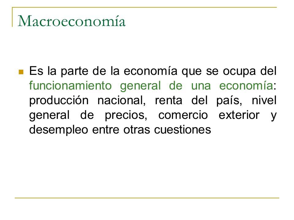 Macroeconomía Es la parte de la economía que se ocupa del funcionamiento general de una economía: producción nacional, renta del país, nivel general d