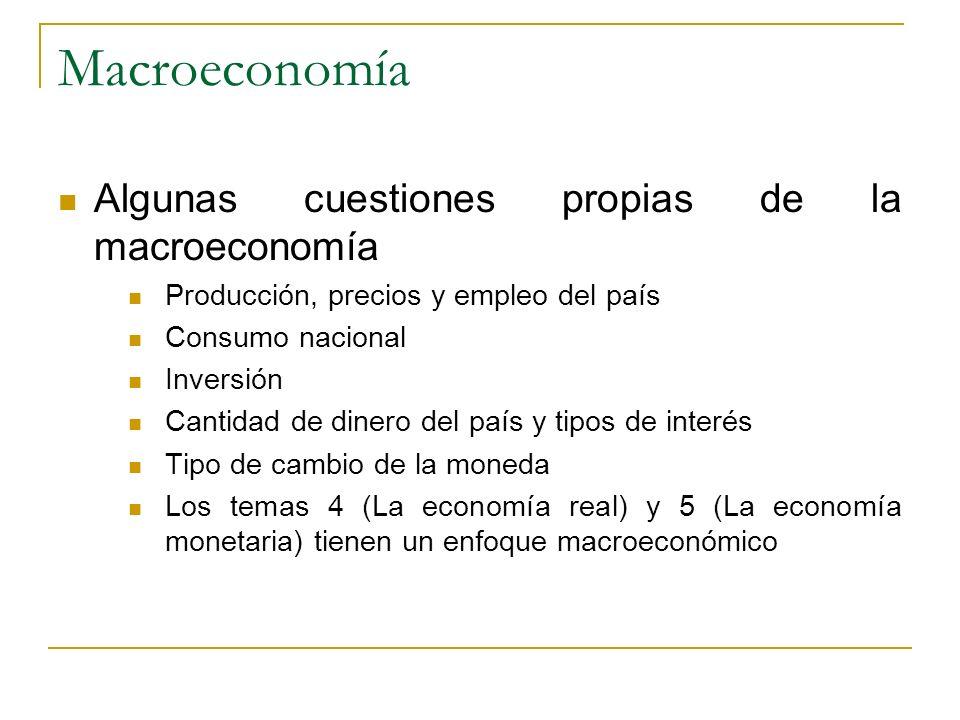 Macroeconomía Algunas cuestiones propias de la macroeconomía Producción, precios y empleo del país Consumo nacional Inversión Cantidad de dinero del p