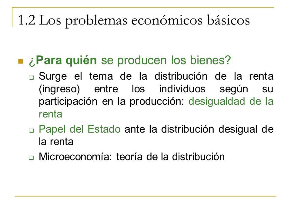 1.2 Los problemas económicos básicos ¿Para quién se producen los bienes? Surge el tema de la distribución de la renta (ingreso) entre los individuos s