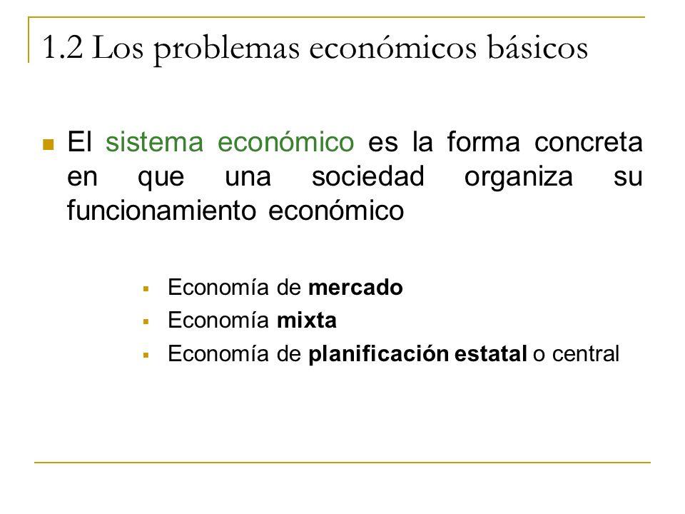 1.2 Los problemas económicos básicos El sistema económico es la forma concreta en que una sociedad organiza su funcionamiento económico Economía de me