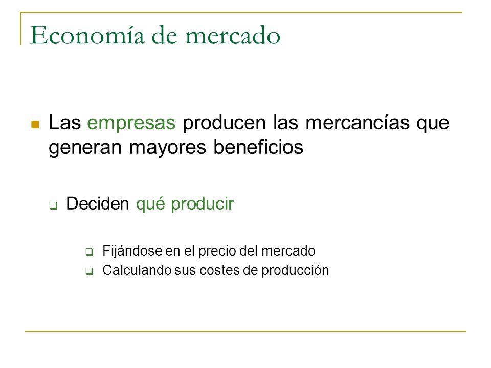 Economía de mercado Las empresas producen las mercancías que generan mayores beneficios Deciden qué producir Fijándose en el precio del mercado Calcul