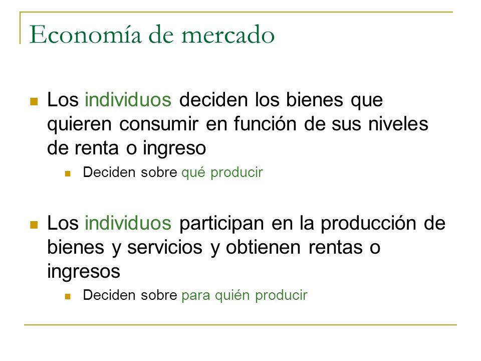 Economía de mercado Los individuos deciden los bienes que quieren consumir en función de sus niveles de renta o ingreso Deciden sobre qué producir Los