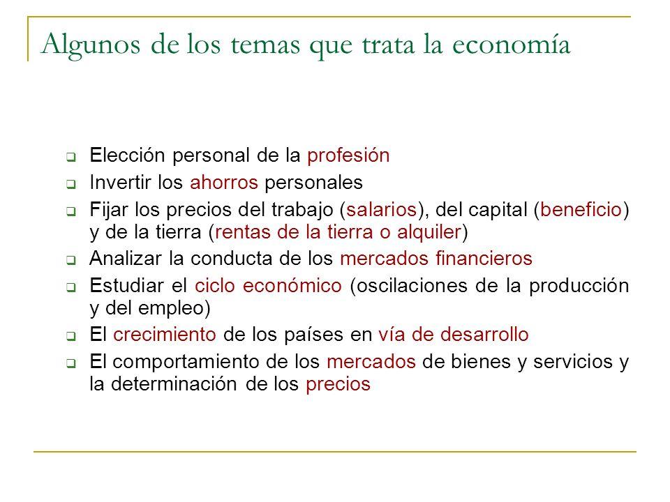 Algunos de los temas que trata la economía Elección personal de la profesión Invertir los ahorros personales Fijar los precios del trabajo (salarios),