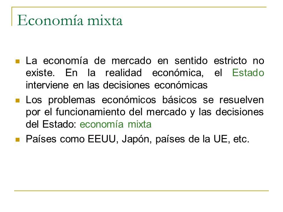 Economía mixta La economía de mercado en sentido estricto no existe. En la realidad económica, el Estado interviene en las decisiones económicas Los p