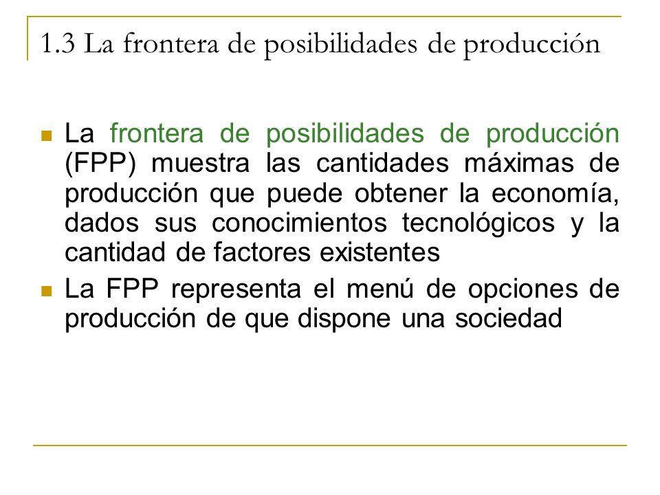 1.3 La frontera de posibilidades de producción La frontera de posibilidades de producción (FPP) muestra las cantidades máximas de producción que puede