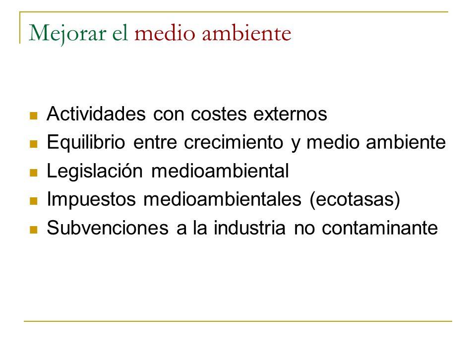 Mejorar el medio ambiente Actividades con costes externos Equilibrio entre crecimiento y medio ambiente Legislación medioambiental Impuestos medioambi
