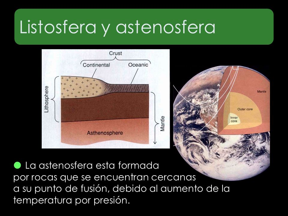 Listosfera y astenosfera La astenosfera esta formada por rocas que se encuentran cercanas a su punto de fusión, debido al aumento de la temperatura po