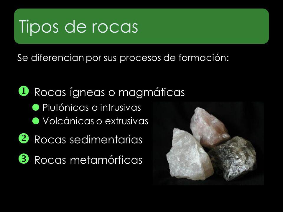 Tipos de rocas Se diferencian por sus procesos de formación: Rocas ígneas o magmáticas Plutónicas o intrusivas Volcánicas o extrusivas Rocas sedimenta