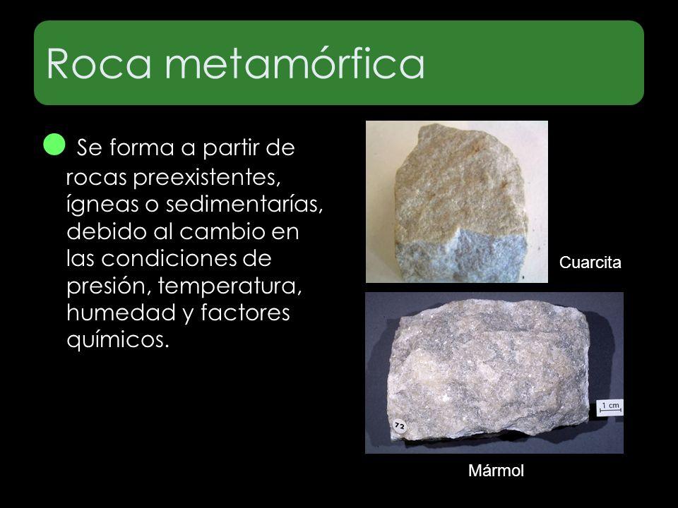 Roca metamórfica Mármol Cuarcita Se forma a partir de rocas preexistentes, ígneas o sedimentarías, debido al cambio en las condiciones de presión, tem
