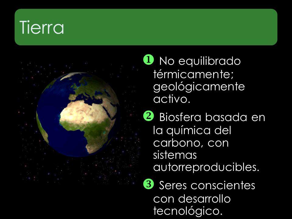 Tierra No equilibrado térmicamente; geológicamente activo. Biosfera basada en la química del carbono, con sistemas autorreproducibles. Seres conscient
