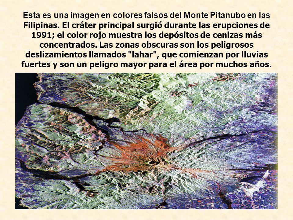Esta es una imagen en colores falsos del Monte Pitanubo en las Filipinas. El cráter principal surgió durante las erupciones de 1991; el color rojo mue