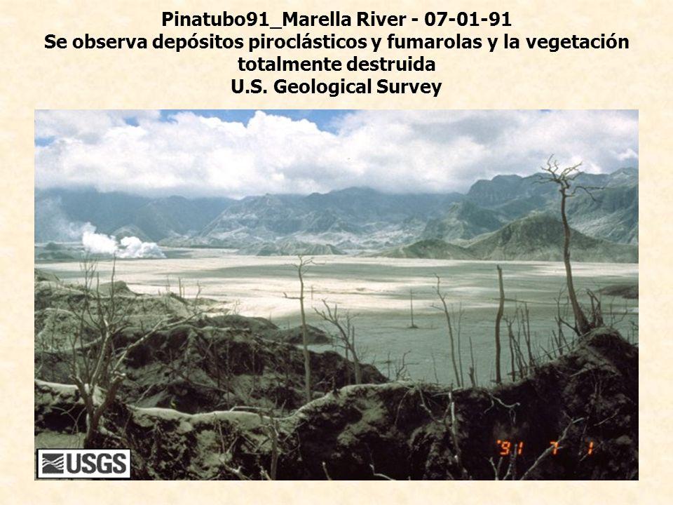 Pinatubo91_Marella River - 07-01-91 Se observa depósitos piroclásticos y fumarolas y la vegetación totalmente destruida U.S. Geological Survey
