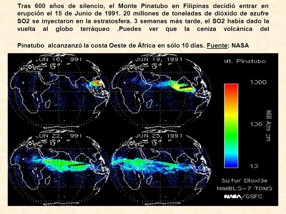 Tras 600 años de silencio, el Monte Pinatubo en Filipinas decidió entrar en erupción el 15 de Junio de 1991. 20 millones de toneladas de dióxido de az