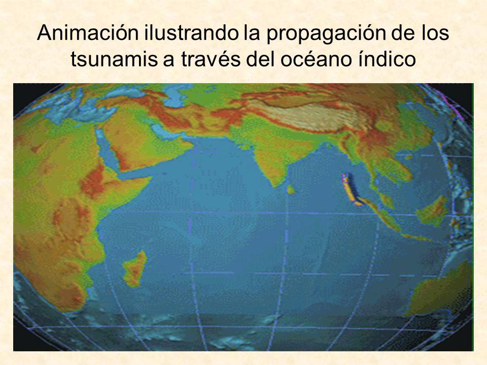 Animación ilustrando la propagación de los tsunamis a través del océano índico