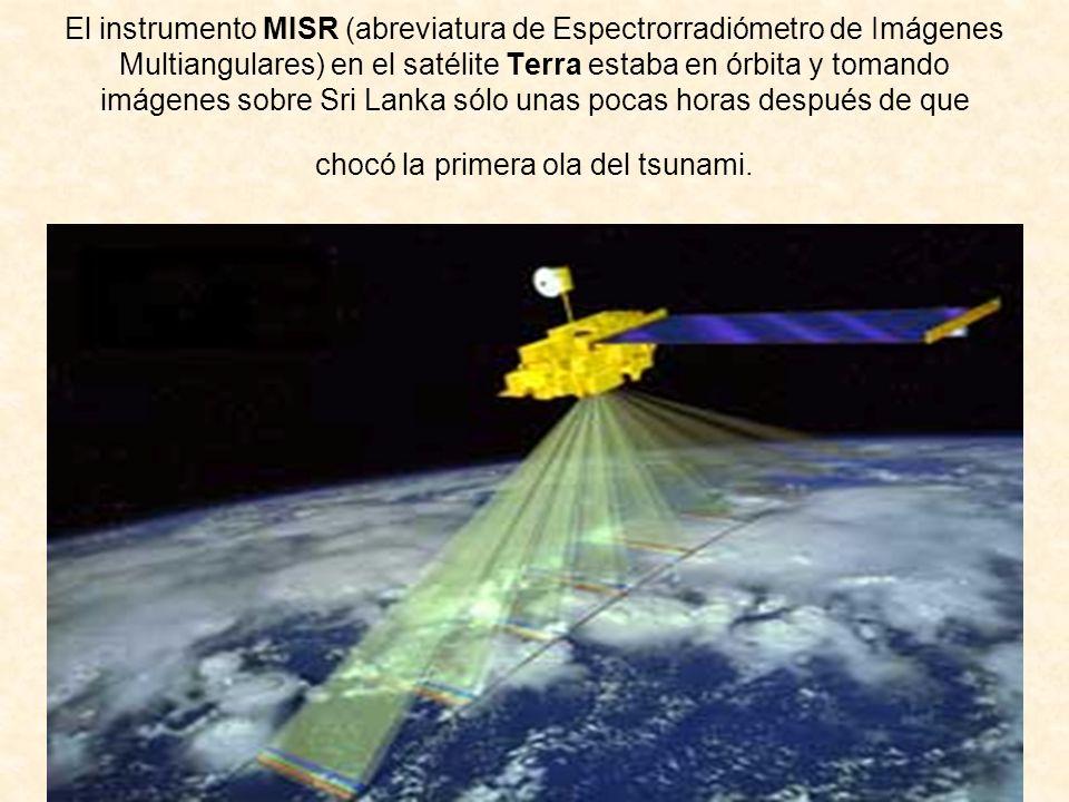 El instrumento MISR (abreviatura de Espectrorradiómetro de Imágenes Multiangulares) en el satélite Terra estaba en órbita y tomando imágenes sobre Sri