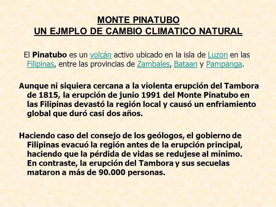 MONTE PINATUBO UN EJMPLO DE CAMBIO CLIMATICO NATURAL El Pinatubo es un volcán activo ubicado en la isla de Luzon en las Filipinas, entre las provincia