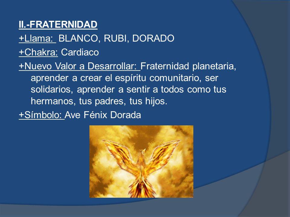 III.-CURA PLANETARIA +Llama: VERDE, AZUL, ROSA +Chakra: Plexo Solar +Nuevo Valor a Desarrollar: Servicio Desinteresado: participar en la cura de la humanidad y del planeta.