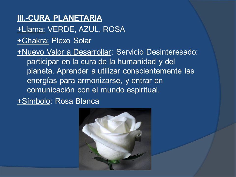 IV.-CIENCIA HOLISTICA +Llama: NARANJA, ROSA, BLANCO +Chakra: 6o.