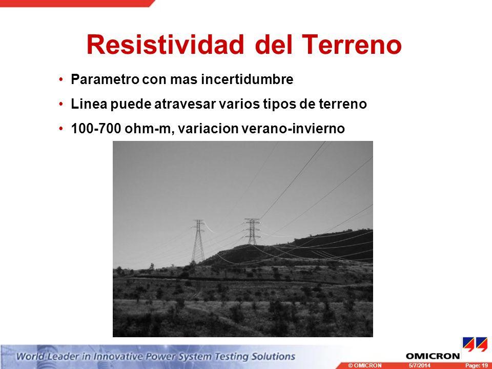 © OMICRONPage: 19 5/7/2014 Resistividad del Terreno Parametro con mas incertidumbre Linea puede atravesar varios tipos de terreno 100-700 ohm-m, variacion verano-invierno