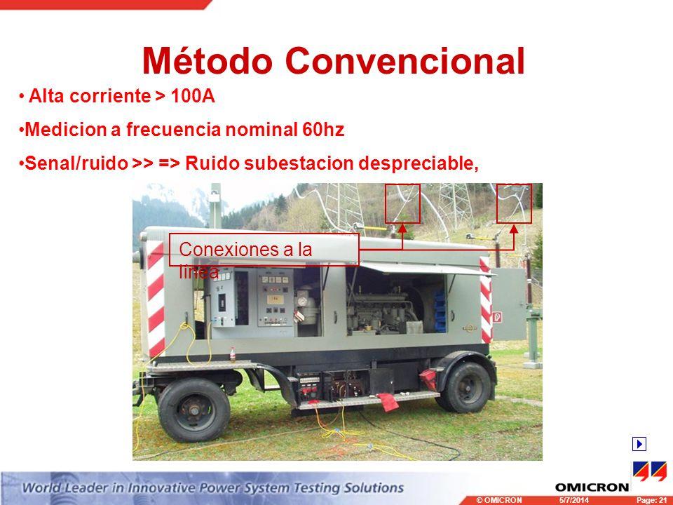 © OMICRONPage: 21 5/7/2014 Método Convencional Conexiones a la línea Alta corriente > 100A Medicion a frecuencia nominal 60hz Senal/ruido >> => Ruido