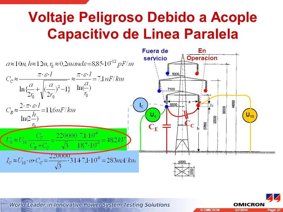 © OMICRONPage: 27 5/7/2014 Voltaje Peligroso Debido a Acople Capacitivo de Linea Paralela C CECE U0U0 ICIC U 10 En Operacion Fuera de servicio a h r0r