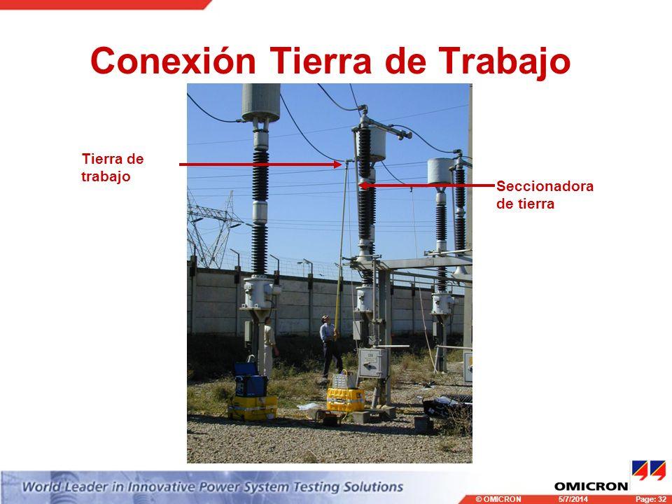 © OMICRONPage: 32 5/7/2014 Conexión Tierra de Trabajo Seccionadora de tierra Tierra de trabajo