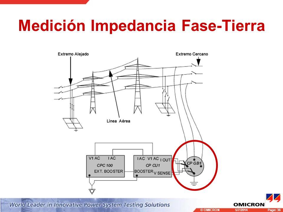 © OMICRONPage: 36 5/7/2014 Medición Impedancia Fase-Tierra