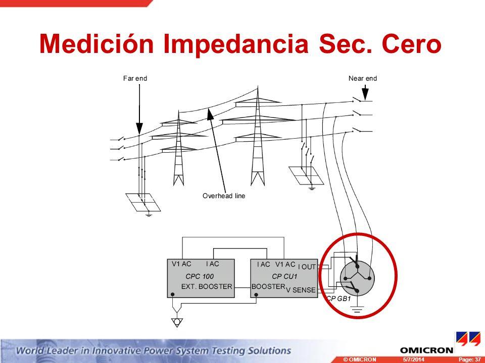 © OMICRONPage: 37 5/7/2014 Medición Impedancia Sec. Cero