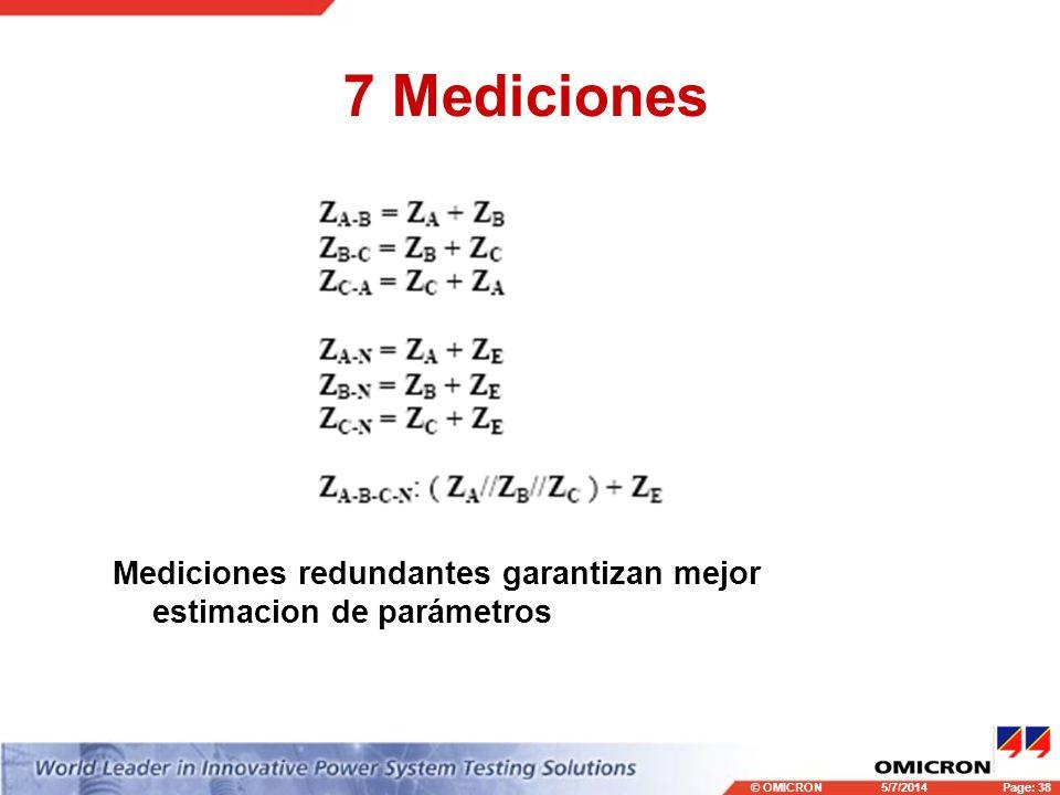 © OMICRONPage: 38 5/7/2014 7 Mediciones Mediciones redundantes garantizan mejor estimacion de parámetros