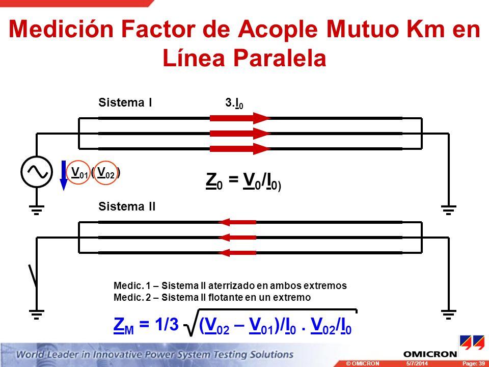 © OMICRONPage: 39 5/7/2014 Medición Factor de Acople Mutuo Km en Línea Paralela Sistema I Sistema II 3.I 0 Medic. 1 – Sistema II aterrizado en ambos e