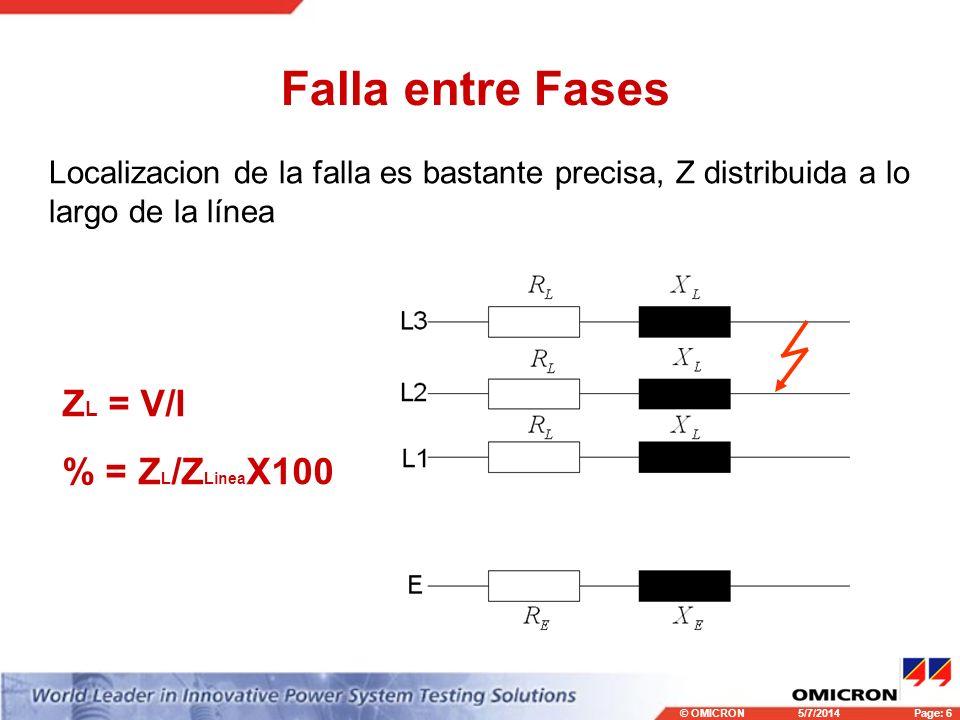 © OMICRONPage: 6 5/7/2014 Falla entre Fases Localizacion de la falla es bastante precisa, Z distribuida a lo largo de la línea Z L = V/I % = Z L /Z Linea X100