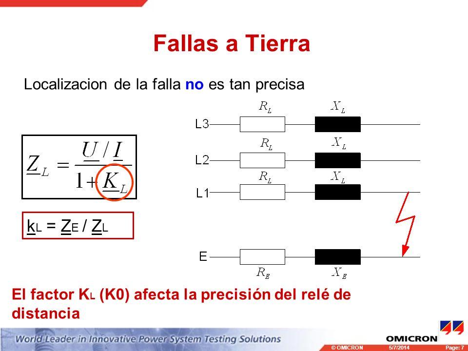 © OMICRONPage: 7 5/7/2014 Fallas a Tierra k L = Z E / Z L Localizacion de la falla no es tan precisa El factor K L (K0) afecta la precisión del relé d