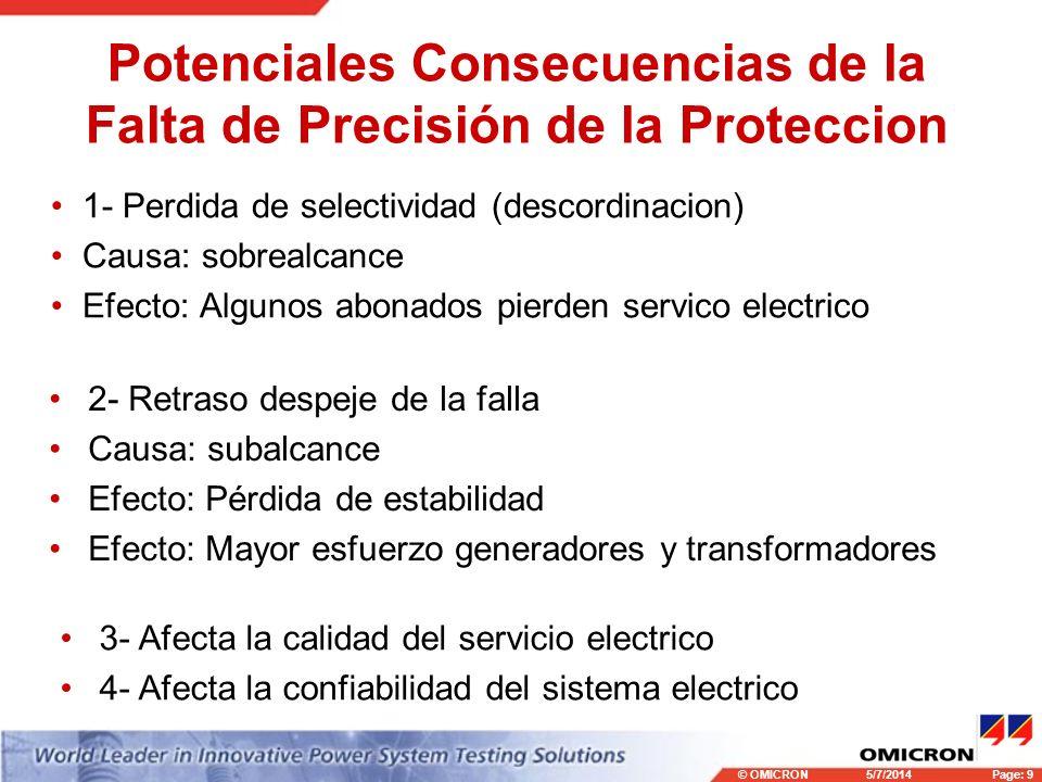 © OMICRONPage: 9 5/7/2014 Potenciales Consecuencias de la Falta de Precisión de la Proteccion 1- Perdida de selectividad (descordinacion) Causa: sobrealcance Efecto: Algunos abonados pierden servico electrico 2- Retraso despeje de la falla Causa: subalcance Efecto: Pérdida de estabilidad Efecto: Mayor esfuerzo generadores y transformadores 3- Afecta la calidad del servicio electrico 4- Afecta la confiabilidad del sistema electrico