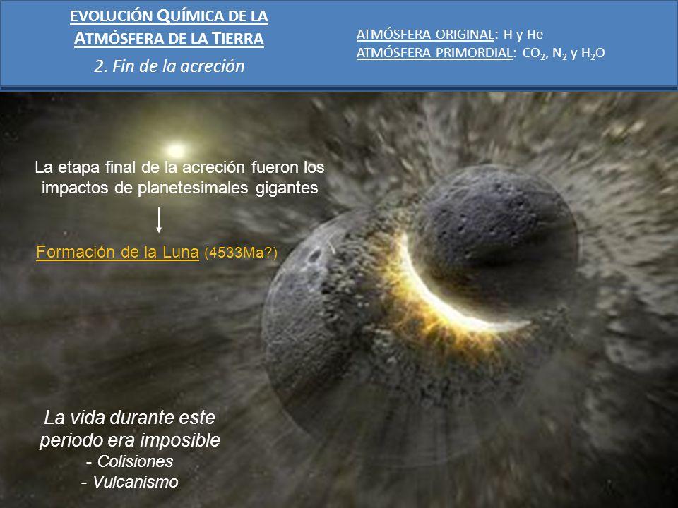 La etapa final de la acreción fueron los impactos de planetesimales gigantes La vida durante este periodo era imposible - Colisiones - Vulcanismo Form