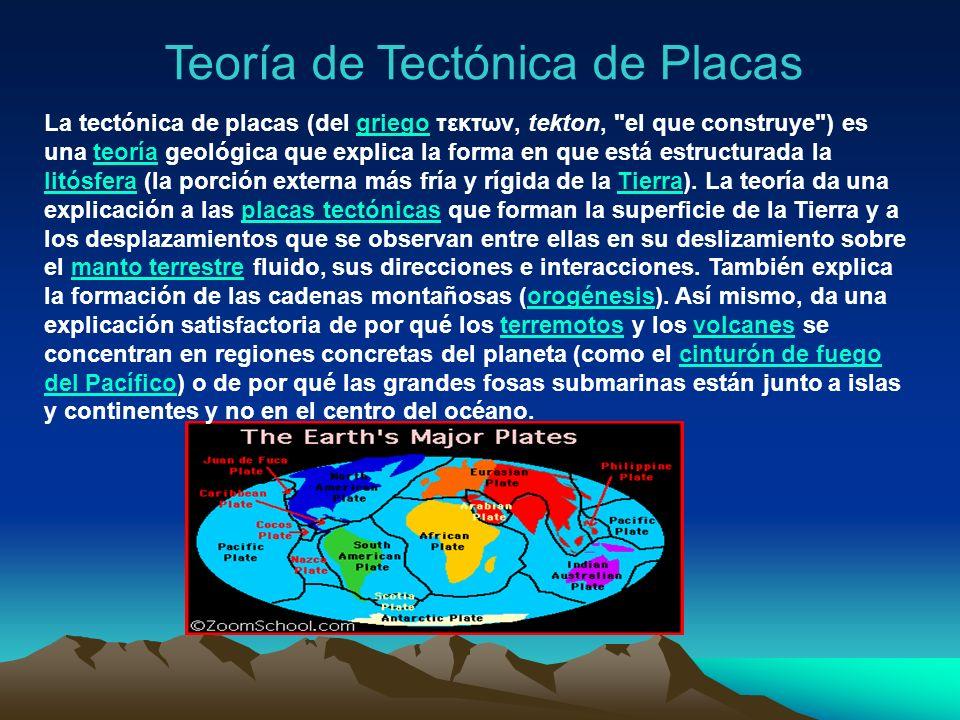 Teoría de Tectónica de Placas La tectónica de placas (del griego τεκτων, tekton,