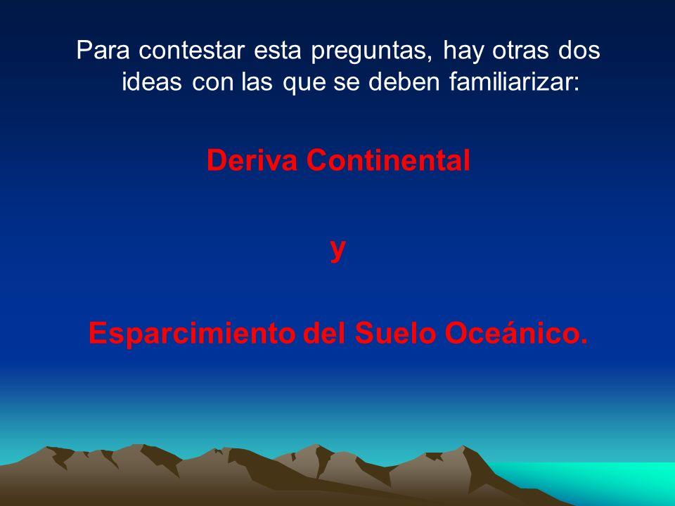 Para contestar esta preguntas, hay otras dos ideas con las que se deben familiarizar: Deriva Continental y Esparcimiento del Suelo Oceánico.