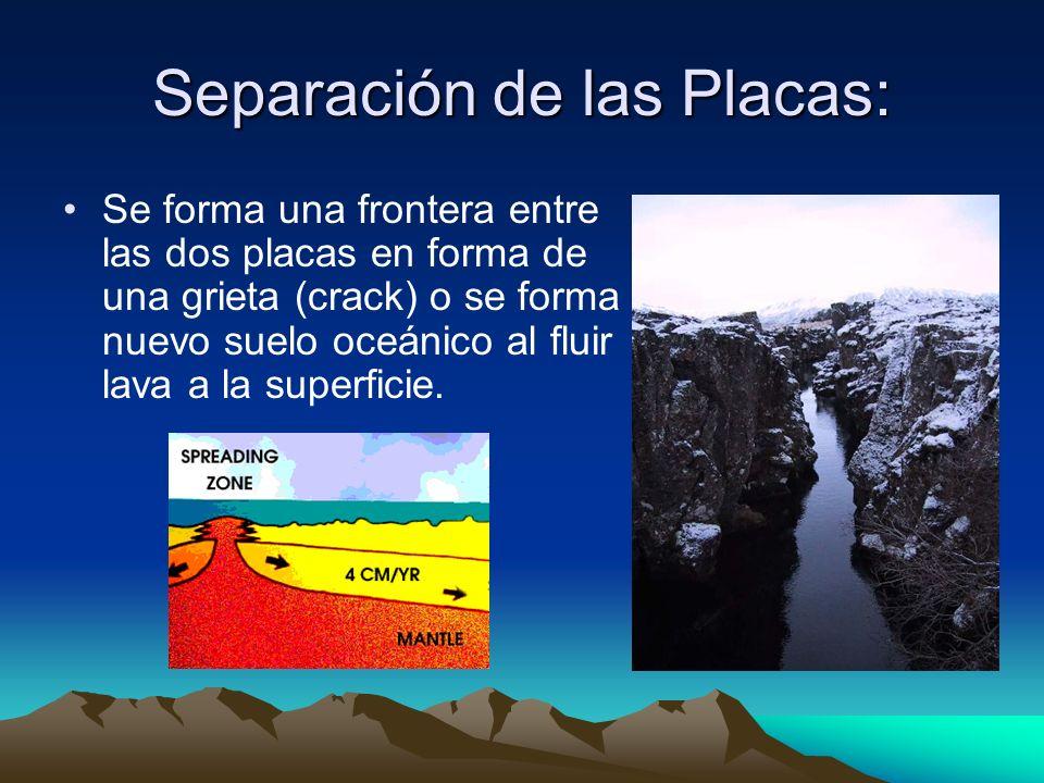 Separación de las Placas: Se forma una frontera entre las dos placas en forma de una grieta (crack) o se forma nuevo suelo oceánico al fluir lava a la