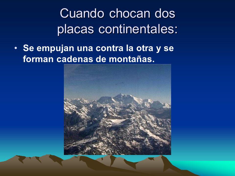 Cuando chocan dos placas continentales: Se empujan una contra la otra y se forman cadenas de montañas.